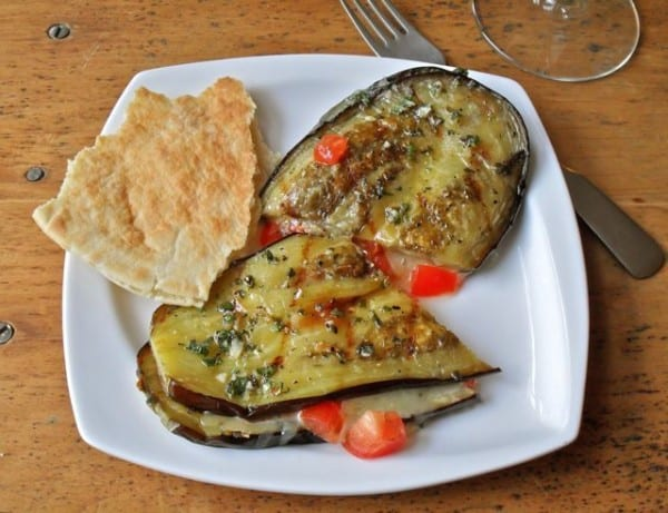 Grilled Eggplant with Cheddar and Tomatoes